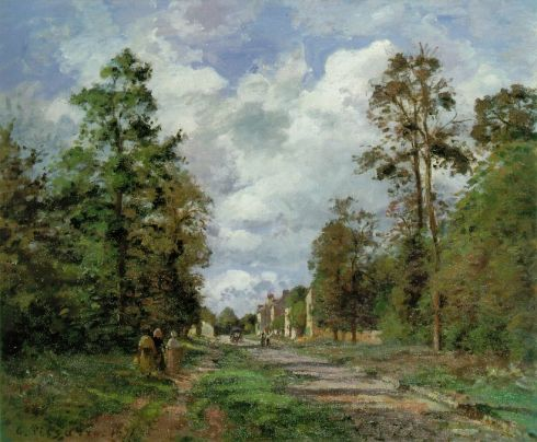 camille-pissarro-The-Road-to-Louveciennes-at-the-Outskirts-of-the-Forest-1871