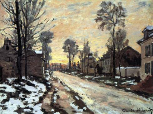 Monet-Road-to-Louveciennes-melting-snow-children-sunset-1870